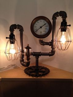 New Handmade Vintage Steampunk Table Lamp Industrial Machine Age No Reserve | eBay