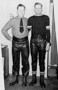 Jason and a sailor friend in Langlitz flap front sailor leather pants