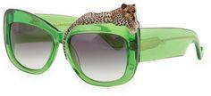Karlsson Anna-Karin Rose et la Mer Leopard Sunglasses, Green on shopstyle.com