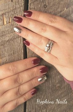 Fall nails with chrome accent finger