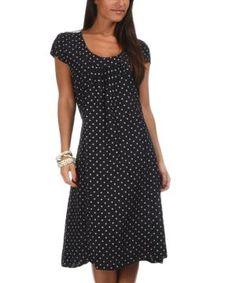 Navy Blue & White Alizee Linen Dress $54.99 by Zulily