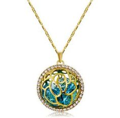 Buy Gold-plated Cutout Zircon Ball Blue Crystal Pendant Necklace, sale ends soon. Be inspired: enjoy affordable quality shopping at Gearbest! Hanging Necklaces, Cheap Necklaces, Metal Necklaces, Sapphire Necklace, Beaded Necklace, Pendant Necklace, Layered Necklaces Silver, Necklace Types, Chain Pendants