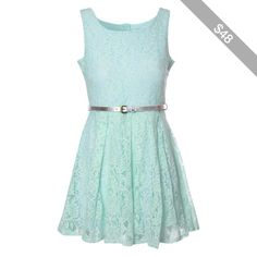 Mint Lace Belted Dress