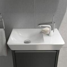VitrA T4 Compact Waschtisch, Becken links weiß mit VitrAclean mit 1 Hahnloch