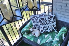 REVEAL // Viceroy Inspired BalconyOutdoor lanterns, outdoor love seats, green black and white stripe bamboo pattern outdoor throw pillows, outdoor ottoman, banana palm leaf print outdoor fabric, vintage brass pitcher, vintage cocktail glasses, HGTV Star, DIY, aloe plants, astro turf, high-rise pre-war, apartment building patio balcony terrace, outdoor entertaining, chihuahua