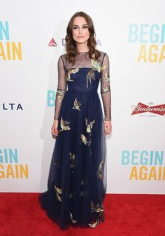 Keira Knightley in a gorgeous blue dress with gold birds
