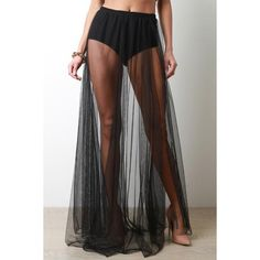 High Rise Brief Semi-Sheer Mesh Maxi Skirt ($53) ❤ liked on Polyvore featuring skirts, slit skirt, long ankle length skirts, high waisted long skirt, high-waisted skirts and high waisted long maxi skirt