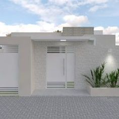 Habitações por Aline Bassani Arquitetura Rendered Houses, House Exterior, House Styles, Modern Gate, Small House Design, Entrance Gates Design, Window Trim Exterior, Door Design Modern, House Designs Exterior