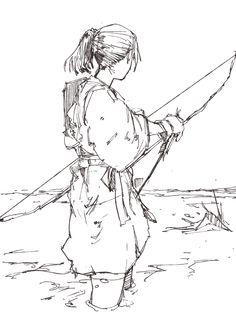 Tribal boy practicing art of the bow Cool Drawings, Drawing Sketches, Sketch Inspiration, Anime Sketch, Drawing Poses, Art Reference Poses, Figure Drawing, Manga Art, Character Art