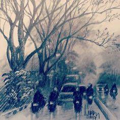 Jalan Diponegoro, depan RRI, saat embun belum mengutuh luruh#art #drawing #pencil #sketch Fine Art Drawing, Cool Art Drawings, City Sketch, Sketches, Painting, Outdoor, Instagram, Lashes, Painting Art