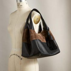 Aracena Hobo Bag: Pebbled leather plays nicely with supple suede in this streamlined, go-with-everything bag. Hobo Bag, Pebbled Leather, Wallets, Handbags, Fashion, Moda, Fashion Styles, Hand Bags, Purses
