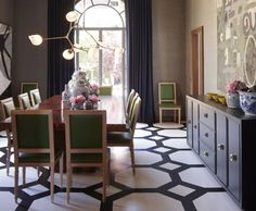 love the painted black & white floors and touch of green chairs in formal dining design Home Design, Floor Design, Layout Design, Interior Decorating, Interior Design, Decorating Ideas, Floor Patterns, Dining Room Lighting, Painted Floors