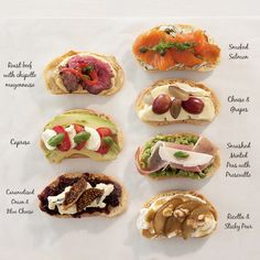 To make the crostini, bake sliced ciabatta in oven on for hours. They keep for up to three weeks in an airtight container. These crostini ideas also make great sandwiches for kids lunchbo. Appetizer Recipes, Appetizers, Finger Foods For Kids, Lenotre, Cooking Recipes, Healthy Recipes, Clean Eating Snacks, Kids Meals, Brunch