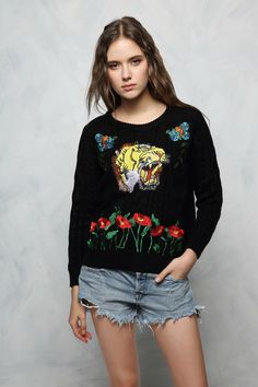Tiger Embroidery Sweater Now Available at Pasa Boho. Free Spirit hippie girls sharing woman outfit ideas. bohemian clothes, cute dresses and skirts. Fashion trend and styles from hippie chic, modern vintage, gypsy style, boho chic, hmong ethnic, street style, geometric and floral outfits.  We Love boho style and embroidery stitches.