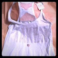 BRAND NEW Victoria's Secrett I Do Taken tank New with tags. Never worn. Adorably printed taken on front with bow on top back!  Victoria's Secret Tops Tank Tops