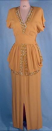 1940's CEIL CHAPMAN ORIGINAL Gold Crepe Gown with Sequins