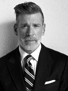 Not to be cliche, but Nick Wooster is a bad-ass. The don of mens street style, Nick Wooster has been in the fashion game for the last 25 years. From his position as fashion director of mega-brand … Nick Wooster, Style Dandy, Style Gentleman, Hair And Beard Styles, Hair Styles, Moda Blog, Look Man, Moustaches, Hair Photo