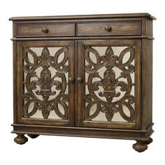 Perfect for stowing table linens in the dining room or everyday essentials in your entryway, this 2-door and 2-drawer cabinet offers regal style with a mediu...