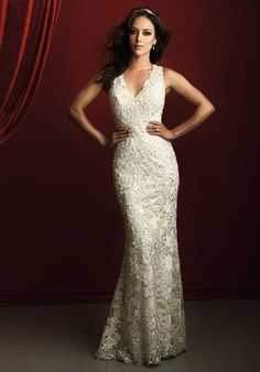 Allure Couture Allure Couture Intricate detail is the focus of this stunning sheath gown, from the lace applique down to the fine beading. This gown is for the bride that wants something simple but elegant! Formal Dresses For Weddings, Wedding Dresses Photos, Wedding Dress Sizes, Perfect Wedding Dress, Bridal Dresses, Bridesmaid Dresses, Illusion Neckline Wedding Dress, Allure Couture, Couture Wedding Gowns