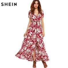 Woman's Fashion Summer Dresses For Woman Burgundy V Neck Short Sleeve Floral Self Tie Fringe Split Maxi Dress