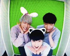 EXO's Second Box : Baekhyun, Xiumin, and Lay in a photo booth (2/4)