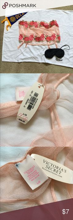 NWT VS pink VS garter with built in thong.  Size L NWT Pink garter from VS.  beautiful floral pattern.  Has built in thong and elastic waistband.  Tag has been marked for no returns.   Size L Victoria's Secret Intimates & Sleepwear Shapewear