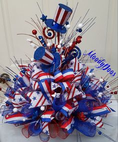 Red white blue centerpiece,patriotic centerpiece,july tablepiece,independence day centerpiece,labor day decor by on etsy Patriotic Wreath, Patriotic Crafts, July Crafts, Holiday Crafts, Flag Wreath, Patriotic Party, Fourth Of July Decor, 4th Of July Party, July 4th