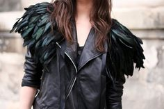 Black Leather Jacket with Feathered Pauldrons   (Also this makes me think of Anders)