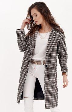 Roco Oversizowy płaszcz w pepitkę 0014/A03 Duster Coat, Blazer, Jackets, Women, Fashion, Down Jackets, Moda, Fashion Styles, Jacket