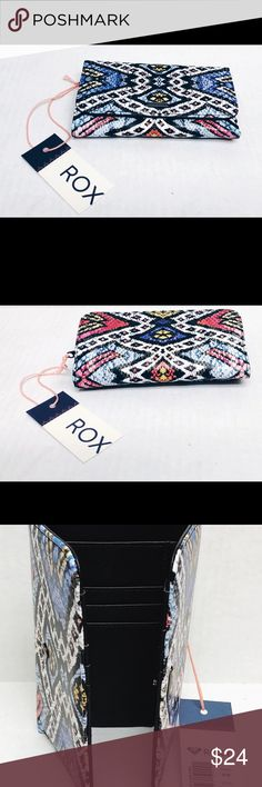 """NEW Roxy My Long Eyes Wallet Regata Soaring Eyes Women's girls Wallet Roxy My Long Eyes printed faux leather trifold wallet. Metal logo plate on front. External zip pocket. 10 card pockets, ID viewer, 4 slip pockets, and cash pocket Measurements: Height 3.5"""" Width: 6.5"""" Roxy Bags Wallets"""