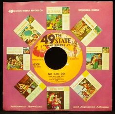 """45 rpm single sleeve from """"49th State Hawaii"""" record company advertising their LP releases. vinyl."""