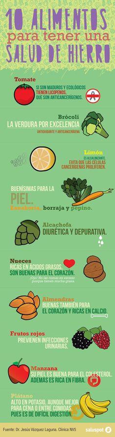 10 alimentos para tener una salud de hierro. #infografia #nutricion