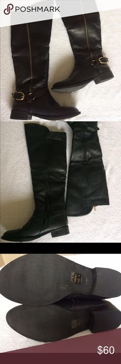 Black Leather Knee High Boots Not Seychelles but Steve Madden. Black leather with gold zipper and buckle accent. Has a discreet side zipper to make it easy to slip on. Polished and sophisticated. Excellent gently used. Leather cleaned and moisturized regularly. Seychelles Shoes