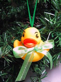 Baby Rubber Ducky Christmas Ornament with Green Sheer Ribbon Bow  | Wyverndesigns - Seasonal on ArtFire