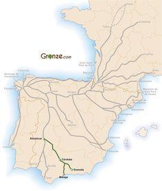 Mapa del Camino Mozárabe