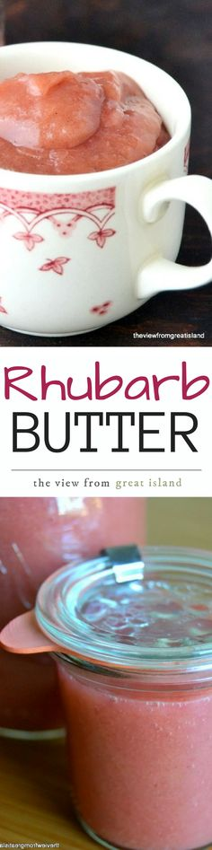 At the first sighting of fresh rhubarb every spring I make up a batch of my sweet/tangy Rhubarb Butter ~ spread it on toast, muffins, biscuits, or just eat it by the spoonful! (Recipes To Try Stevia) Rhubarb Desserts, Rhubarb Recipes, Fruit Recipes, Jam Recipes, Sweet Desserts, Easy Desserts, Yummy Recipes, Dessert Recipes, Rhubarb Butter