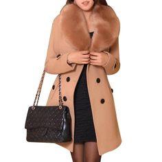 3e79f197ad375 Korea Style Women Wool Blends Coats Ladies Winter Warm Faux Fur Collar Long  Coat Parka Plus