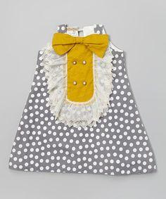 Look at this #zulilyfind! Gray & Mustard Polka Dot Sky Dress - Toddler & Girls by Banana Bread Baby #zulilyfinds