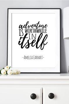 Amelia Earhart Quotes, Apartment Wall Art, New Adventure Quotes, Work Inspiration, Black Decor, Minimalist Decor, Home Office Decor, Printable Wall Art, Printables