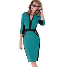 Business Casual Elegant Stretch Charming BodyCon Midi Pencil Dress wit – Kolkos Fashion