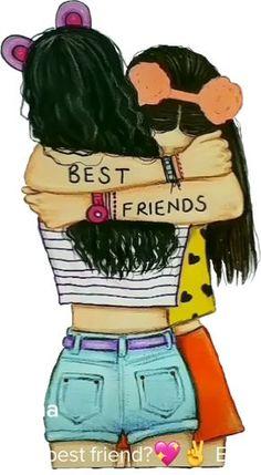 Girl Drawing Sketches, Cute Girl Drawing, Drawings Of Friends, Girly Drawings, Outline Drawings, Girl Sketch, Disney Drawings, Pencil Drawings, Bff Pics