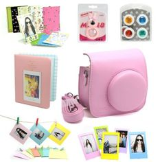 Fujifilm Instax Mini 8 Instant Camera Accessory Bundles Set (Included: Mini 8 Vintage Case Bag/ Hard Cover Instax Mini Book Album/Rabbit Design Mini 8 Close-Up Lens(Self-Portrait Mirror)/ Colorful Close-Up Lens For Mini 8/ Wall Decor Hanging Frame/ 3 Inch Photo Frame/ Colorful Decor Sticker Borders)