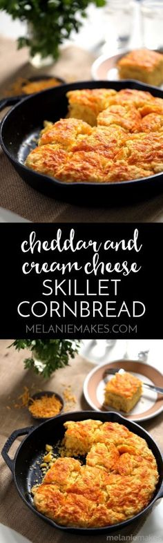 """This Cheddar and Cream Cheese Skillet Cornbread will have you reaching for just """"one more piece"""" again and again. Butter, cheddar and cream cheese are swirled together within the batter before being poured into a piping hot iron skillet. The result? A mile high hearty cornbread that is perfect warm from the oven, at room temperature and at any time of day."""