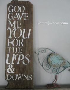 God Gave Me You rustic barnwood sign by KammysKornerShop on Etsy, $12.00