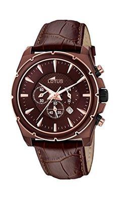 Lotus Reloj de cuarzo Hombre con cronógrafo y correa de piel color marrón de color marrón 18015/1