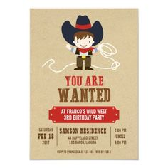 You Are Wanted Cowboy Western Birthday Invitation Birthday Party Games For Kids, Cowboy Birthday Party, Kids Birthday Party Invitations, 3rd Birthday Parties, Pirate Party, Party Fun, Birthday Ideas, Birthday Invitation Card Template, Invites