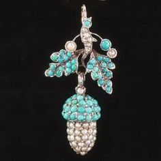 Georgian pendant, acorn and leaves covered with seed pearls and turquoise, c. 1830