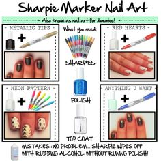 """""""SHARPIE MARKER NAIL ART"""" by reddotdaily on Polyvore"""