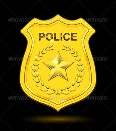 Gold Police Badge Gold Police Badge isolated on black background. Editable EPS, Render in JPG format and layered PSD Created: GraphicsFilesIncluded: PhotoshopPSD Layered: Yes MinimumAdobeCSVersion: CS Tags: badge Police Birthday Cakes, Community Bulletin Board, Police Quotes, Police Party, Community Helpers Preschool, Career Day, Badge Template, Art Drawings For Kids, Hello Kitty Birthday