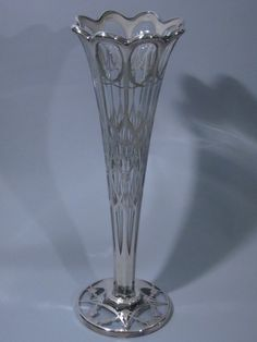Large Silver Overlay Clear Glass Trumpet Vase C 1900